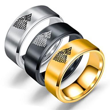 voordelige Herensieraden-Heren Bandring Ring Staartring 1pc Goud Zwart Zilver Roestvast staal Titanium Staal Cirkelvormig Standaard Modieus Feest Dagelijks Sieraden Wolf Cool