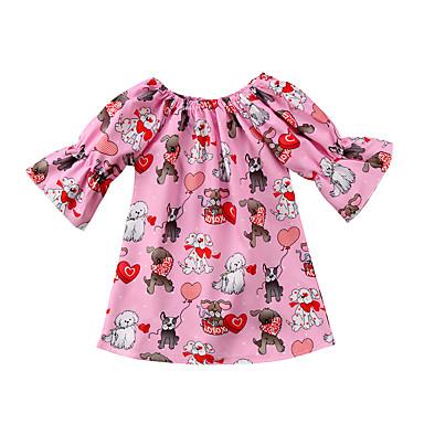 1d25ca33 billige Babyklær-Baby Jente Aktiv / Grunnleggende Trykt mønster Halvlange  ermer Kjole Rosa