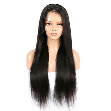 Kökten Saç Ön Dantel Peruk stil Düz Brezilya Saçı Düz Siyah Peruk % 130 Saç yoğunluğu Siyah Kadın's Orta Uzunluk Gerçek Saç Örme Peruklar beikashang