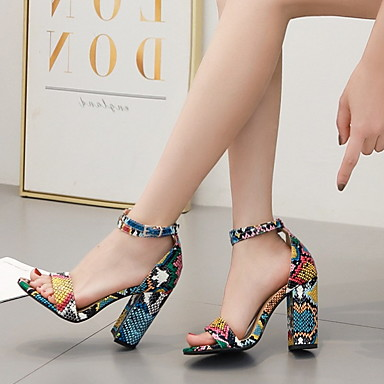 f6806e3e8b583 Women's Sandals Chunky Heel Round Toe Buckle PU(Polyurethane) Spring & Fall  / Summer Rainbow / Color Block