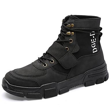 Erkek Ayakkabı PU Sonbahar / İlkbahar yaz İngiliz / Çıtı Pıtı Spor Ayakkabısı Günlük / Dış mekan için Siyah / Haki