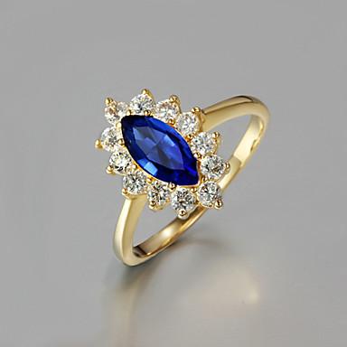 billige Motering-Dame Ring / Forlovelsesring 1pc Rød / Blå Strass / Gullbelagt / Glass Oval Unikt design / Mote Daglig / Arbeid Kostyme smykker