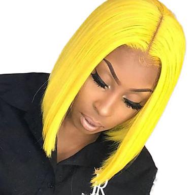 Sentetik Dantel Ön Peruk Düz Stil Orta kısım Ön Dantel Peruk Sarışın Sarı Sentetik Saç 10-12 inç Kadın's Ayarlanabilir / Isı Dirençli / Parti Sarışın Peruk Şort Cosplay Peruk