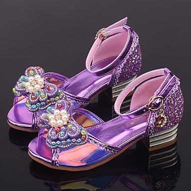 baratos Sapatos de Criança-Para Meninas Sintéticos Sandálias Little Kids (4-7 anos) / Big Kids (7 anos +) Sapatos para Daminhas de Honra / Salto minúsculos para Adolescentes Laço / Tachas / Presilha Roxo / Azul / Rosa claro
