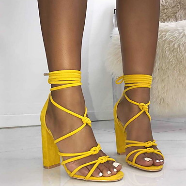 cheap Women's Shoes-Women's Sandals Chunky Heel Peep Toe Rubber Spring &  Fall Black / Yellow