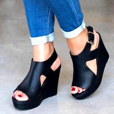 Kadın's Sandaletler Dolgu Topuk PU Yaz Siyah / Sarı