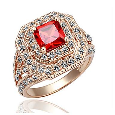 billige Motering-Dame Ring Kubisk Zirkonium 1pc Rose Gull Gullbelagt Geometrisk Form Stilfull Fest Daglig Smykker Klassisk Glede Kul