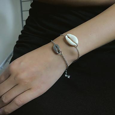 2pcs Kadın's Bileklik Klasik Kabuk Basit Taş Bilezik takı Altın / Gümüş Uyumluluk Hediye Günlük Okul Tatil Çalışma
