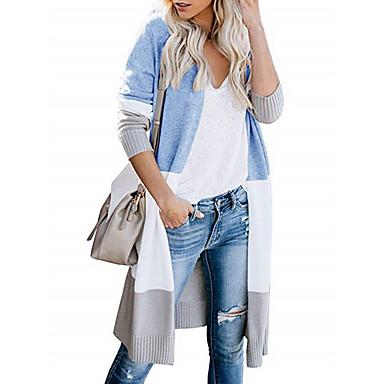 povoljno Novo u ponudi-Žene Color block Dugih rukava Kardigan, Ovratnika Blushing Pink / žuta / Crn S / M / L