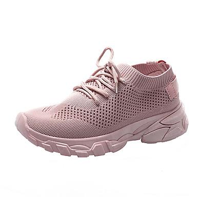 Kadın's Atletik Ayakkabılar Düz Taban Yuvarlak Uçlu Tissage Volant Günlük Yürüyüş İlkbahar yaz Siyah / Beyaz / Pembe