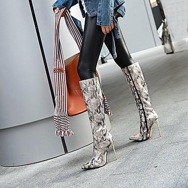 voordelige Dameslaarzen-Dames Laarzen Naaldhak Gepuntte Teen PU Over de knie laarzen Herfst winter Zwart / Luipaard / Goud