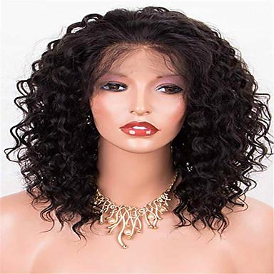 Remy Menneskehår Blonde Forside Parykk stil Brasiliansk hår Kinky Curly Svart Parykk 130% Hair Tetthet Svart Dame Medium Lengde Blondeparykker med menneskehår beikashang