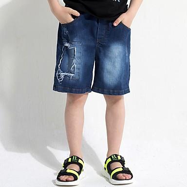 baratos Calças para Meninos-Infantil Para Meninos Sólido Shorts Azul