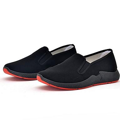 baratos Super Ofertas-Homens Sapatos Confortáveis Lona Primavera Verão Mocassins e Slip-Ons Preto / Vermelho