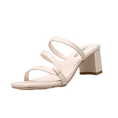 Kadın's Sandaletler Kalın Topuk PU Günlük Yaz Siyah / Sarı / Bej