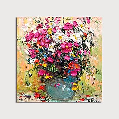 El boyalı tuval oilpainting soyut kalın yağ çiçekler bıçak tarafından vazoda bıçak ev dekorasyon ile çerçeve boyama asmak için hazır