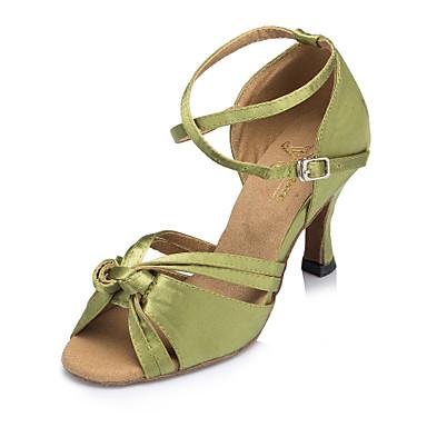 Kadın's Saten Latin Dans Ayakkabıları Ayrık Renkler Topuklular Kıvrımlı Topuk Kişiselleştirilmiş Yeşil