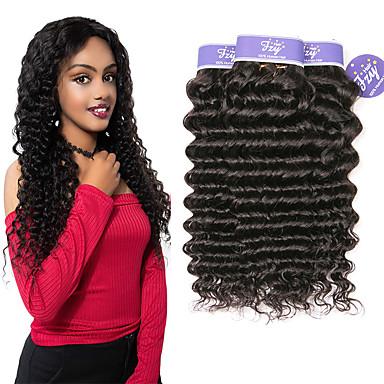 baratos Extensões de Cabelo Natural-3 pacotes Cabelo Indiano Deep Curly Cabelo Natural Remy 100% Remy Hair Weave Bundles Cabelo Humano Ondulado Extensor Cabelo Bundle 8-28 polegada Natural Tramas de cabelo humano S. Valentim Elástico