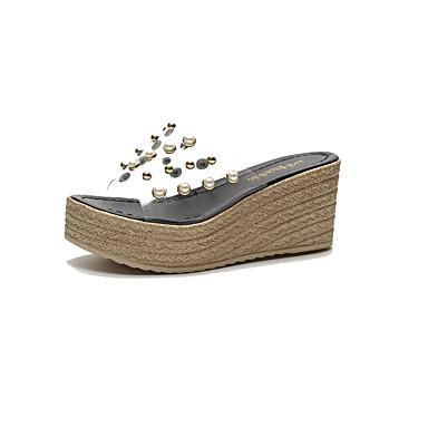 voordelige Damespantoffels & slippers-Dames Slippers & Flip-Flops Sleehak Peep Toe Imitatieparel PVC Zomer Zwart / Beige