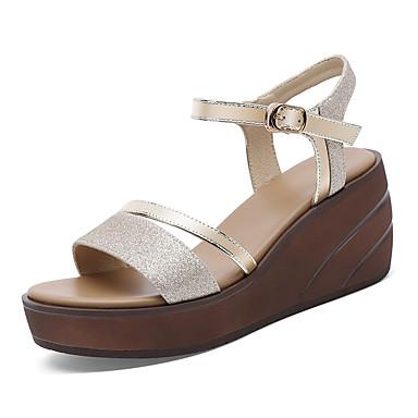 Kadın's Sandaletler Dolgu Topuk Sentetikler Tatlı / Minimalizm İlkbahar & Kış / Yaz Altın / Gümüş