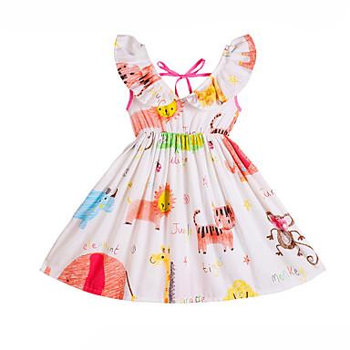 baratos Vestidos para Meninas-Infantil Para Meninas Doce Desenho Animado Estampado Sem Manga Médio Vestido Branco