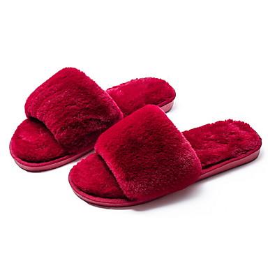 voordelige Damespantoffels & slippers-Dames Slippers & Flip-Flops Platte hak Ronde Teen Suède Herfst winter Zwart / Paars / Fuchsia