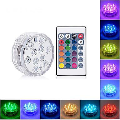 billige Utendørsbelysning-LOENDE 1pc 4 W Undervannslys Vanntett RGB 4.5 V / Batterier drevet 10 LED perler