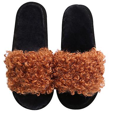 voordelige Damespantoffels & slippers-Dames Slippers & Flip-Flops Platte hak Open teen Konijnenbont / Imitatiebont Informeel Lente / Herfst winter Zwart / Bruin / Wit