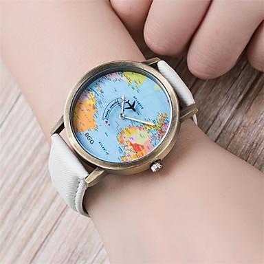 baratos Relógios Senhora-Mulheres Bracele Relógio Mapa mundial Quartzo Couro PU Acolchoado Preta / Branco / Azul 30 m Padrão Mapa do Mundo Analógico senhoras Vintage Fashion - Café Vermelho Azul Um ano Ciclo de Vida da