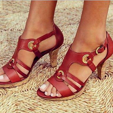 hesapli Kadın Sandaletleri-Kadın's Sandaletler Kalın Topuk Burnu Açık PU Yaz Siyah / Kahverengi / Yeşil