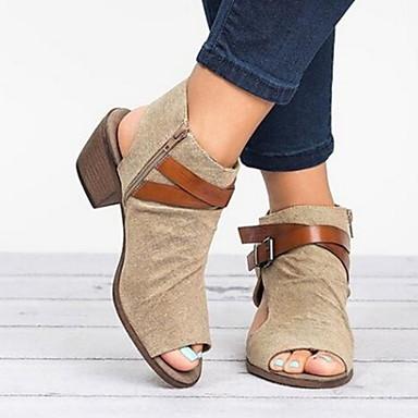 baratos Super Ofertas-Mulheres Sandálias Salto Baixo Peep Toe Presilha Lona Verão Preto / Cinzento / Khaki