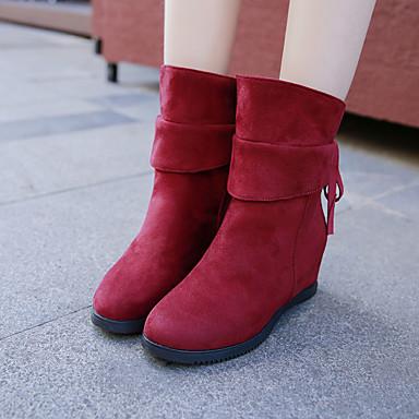 povoljno Ženske čizme-Žene Čizme Skrivena peta Brušena koža Zima Crn / Crvena