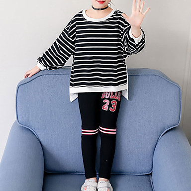 baratos Conjuntos para Meninas-Infantil Bébé Para Meninas Básico Moda de Rua Para Noite Casual Listrado Estampado Estampado Manga Longa Curto Curto Conjunto Preto