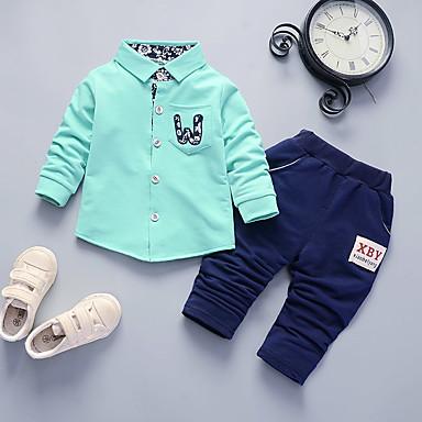 billige Babyklær Gutter-Baby Gutt Fritid / Grunnleggende Trykt mønster Langermet Normal Normal Tøysett Fuksia