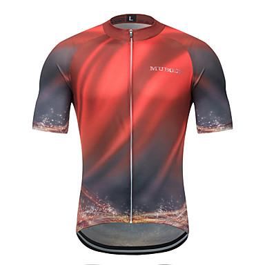 MUBODO Erkek Kısa Kollu Bisiklet Forması Siyah / kırmızı Tek Renk Bisiklet Forma Üstler Nefes Alabilir Hızlı Kuruma Spor Dalları Terylene Dağ Bisikletçiliği Yol Bisikletçiliği Giyim / Mikro-Esnek