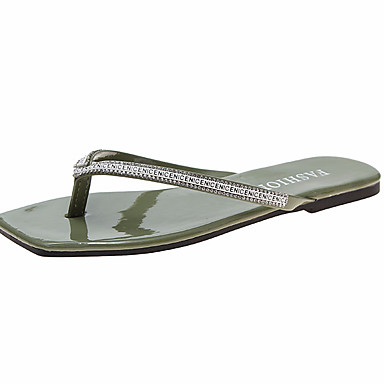 voordelige Damespantoffels & slippers-Dames Slippers & Flip-Flops Platte hak Strass PU Zomer Zwart / Groen / Wit