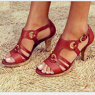 abordables Zapatos de Mujer-Mujer Sandalias Tacón Stiletto Dedo redondo Hebilla PU Verano Negro / Verde / Rojo