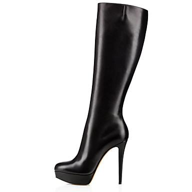 povoljno Ženske čizme-Žene Čizme Stiletto potpetica Zatvorena Toe Eko koža Čizme do koljena Uglađeni / minimalizam Zima Crn / Zabava i večer