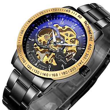 hesapli Erkek Saatleri-WINNER Erkek İskelet Saat Bilek Saati mekanik izle Otomatik kendi hareketli Paslanmaz Çelik Siyah / Gümüş 30 m Su Resisdansı Derin Oyma Parlak Analog Lüks Vintage - Siyah Altın / Siyah Gümüş / Siyah