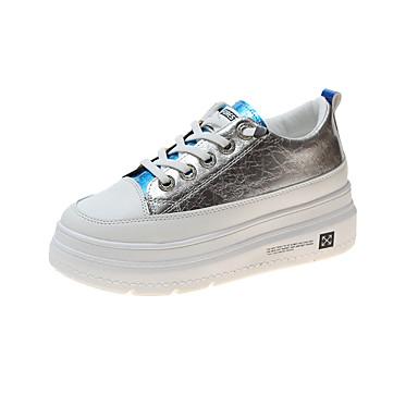 Žene Sneakers Creepersice Okrugli Toe PU Klasik / minimalizam Proljeće ljeto / Jesen zima Zelen / Bijela / Zabava i večer / Color block