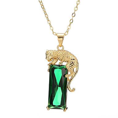baratos Bijuteria de Mulher-Mulheres Verde ônix Colares com Pendentes Longas Tiger Fashion Latão Chapeado Dourado Verde Claro 40+5 cm Colar Jóias 1pç Para Presente Diário