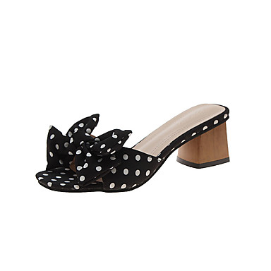 voordelige Damespantoffels & slippers-Dames Slippers & Flip-Flops Blokhak Strik PU Informeel Zomer Zwart / Groen / Oranje