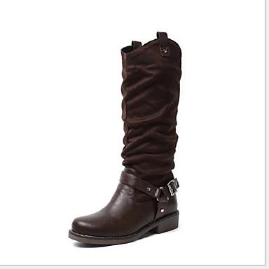 voordelige Dameslaarzen-Dames Laarzen Blok hiel Gepuntte Teen PU Kuitlaarzen Winter Zwart / Geel / Bruin