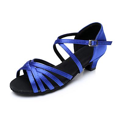 baratos Shall We® Sapatos de Dança-Mulheres Sapatos de Dança Cetim Sapatos de Dança Latina Salto Salto Grosso Personalizável Preto / Branco / Vermelho / Espetáculo / Couro