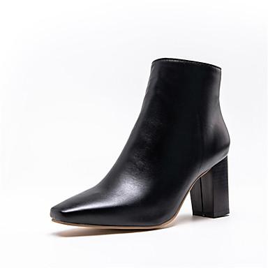 Kadın's Çizmeler Kalın Topuk Sivri Uçlu PU Bootiler / Bilek Botları Sonbahar Kış Siyah / Beyaz
