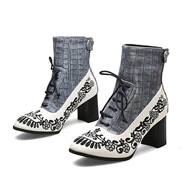 povoljno Ženske čizme-Žene Čizme Blok pete Okrugli Toe PU Čizme gležnjače / do gležnja Vintage / Kinezerije Jesen zima Crn / Crvena / Plava