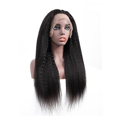 Remy Menneskehår Blonde Forside Parykk stil Brasiliansk hår Kinky Glatt Svart Parykk 130% Hair Tetthet Svart Dame Medium Lengde Blondeparykker med menneskehår beikashang