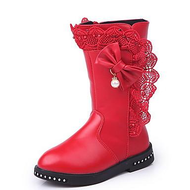 baratos Sapatos de Criança-Para Meninas Microfibra Botas Big Kids (7 anos +) Conforto Laço Preto / Vinho / Vermelho Inverno / Botas Cano Médio