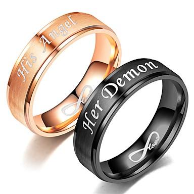 billige Motering-Par Band Ring / Ring / Tail Ring 1pc Svart / Rose Gull Rustfritt Stål Sirkelformet Vintage / Grunnleggende / Mote Gave Kostyme smykker / Hjerte