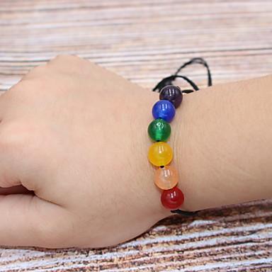 voordelige Herensieraden-Heren Dames Armbanden met ketting en sluiting Kralenarmband Armband Touw Lucky Stijlvol Eenvoudig Natuur modieus Kleurrijk Steen Armband sieraden Regenboog Voor Feest Carnaval Straat Feestdagen